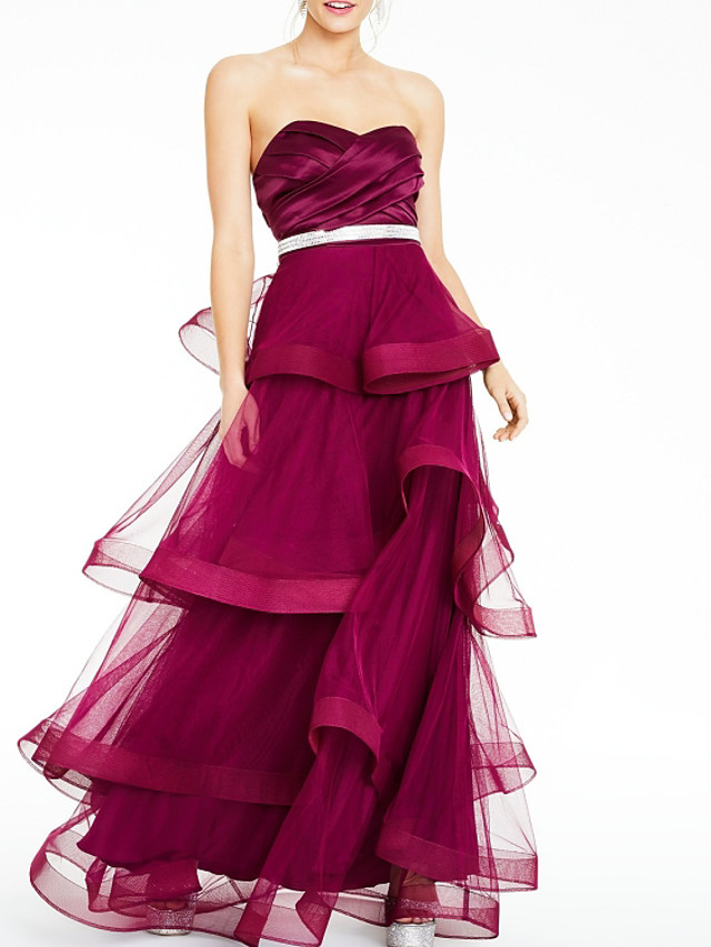 A-Line Elegant Red Party Wear Formal Evening Dress Sweetheart Neckline Sleeveless Floor Length Tulle with Sash / Ribbon Tier 2020
