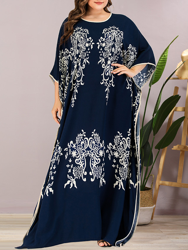 Women's Plus Size Maxi Shift Dress - Half Sleeve Floral Summer Casual Elegant Daily Going out Batwing Sleeve Loose 2020 Blue One-Size