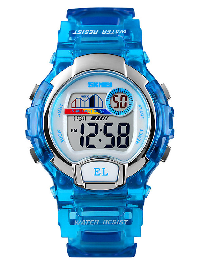 SKMEI Kids Digital Watch Digital Sporty Fashion Water Resistant / Waterproof Black / Blue / Purple Digital - Black Blue Purple One Year Battery Life / Japanese / Calendar / date / day / Chronograph
