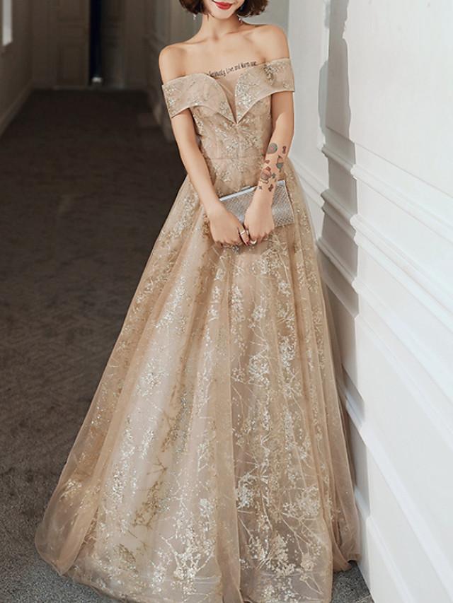A-Line Elegant Glittering Engagement Formal Evening Dress Off Shoulder Short Sleeve Floor Length Tulle with Sequin 2020