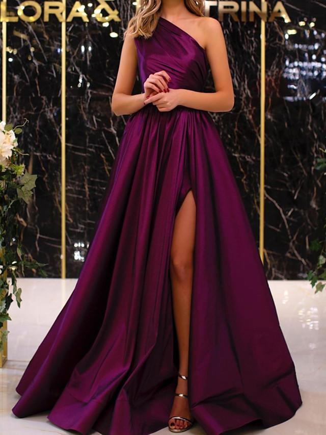 A-Line Elegant Minimalist Engagement Formal Evening Dress One Shoulder Sleeveless Floor Length Satin with Pleats Split 2020