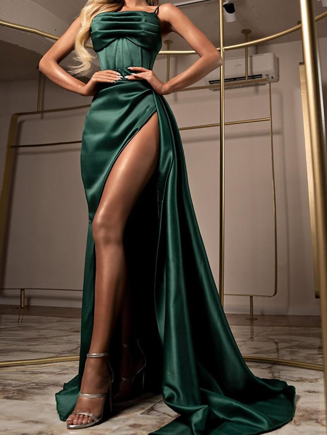 Sheath / Column Elegant Party Wear Formal Evening Dress Spaghetti Strap Sleeveless Sweep / Brush Train Satin with Ruched Split 2020