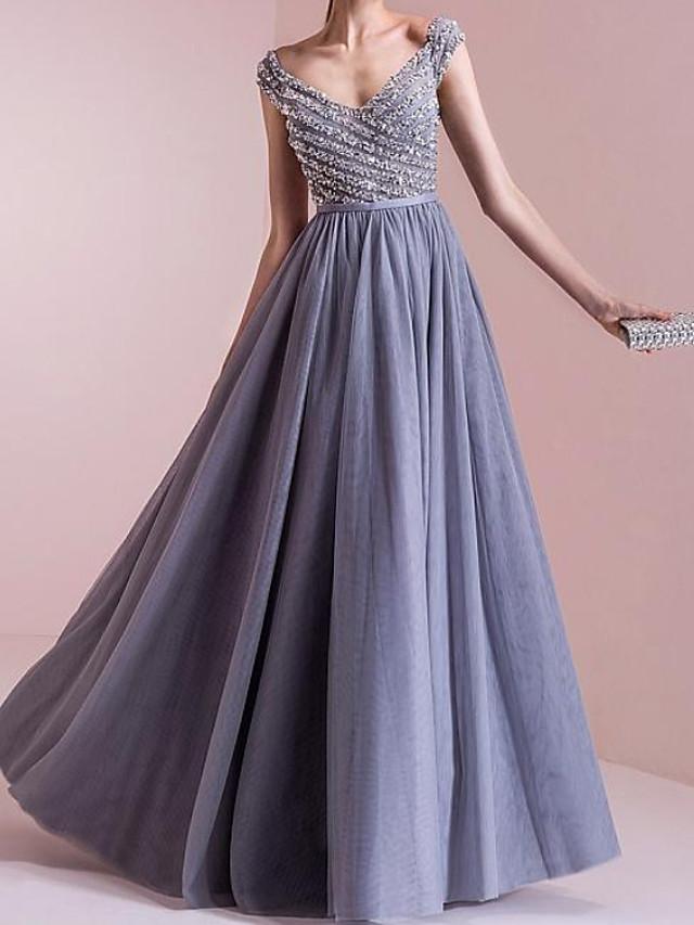 A-Line Elegant Sparkle Engagement Formal Evening Dress Scoop Neck Sleeveless Floor Length Chiffon with Pleats Beading 2020