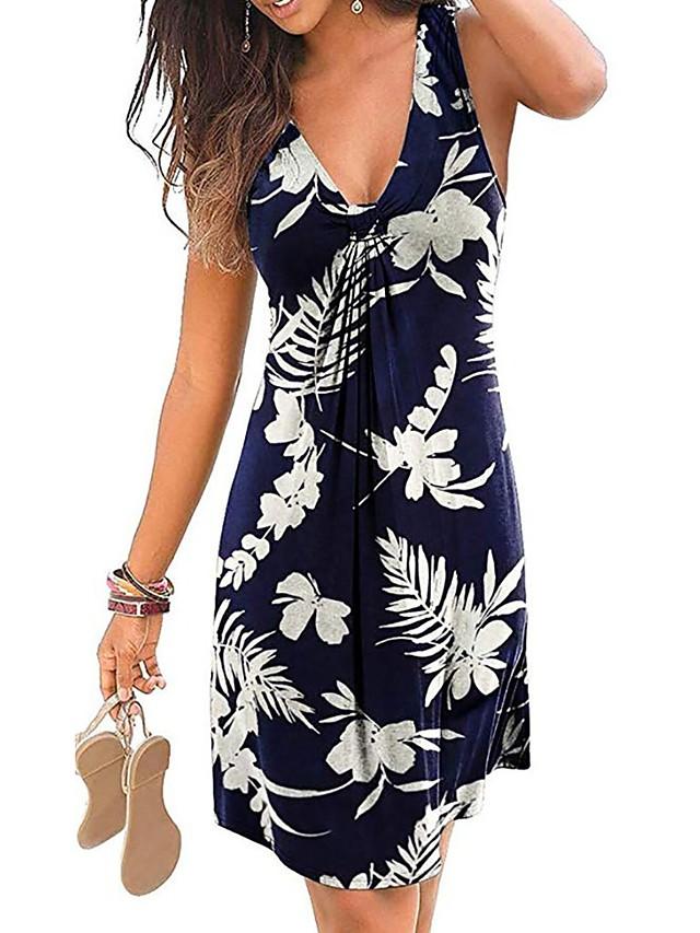 Women's Sheath Dress - Sleeveless Floral Tie Dye Summer V Neck Sexy Holiday Weekend 2020 Wine White Black Blue Purple Green Royal Blue S M L XL XXL XXXL XXXXL XXXXXL