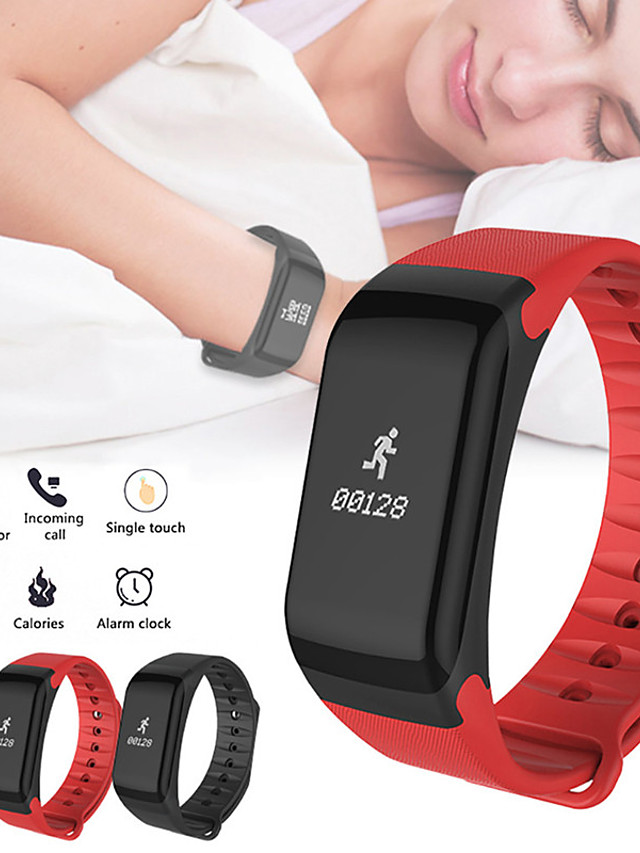 F1 Unisex Smart Wristbands Android Bluetooth Waterproof Touch Screen Heart Rate Monitor Blood Pressure Measurement Long Standby ECG+PPG Sleep Tracker Sedentary Reminder Community Share