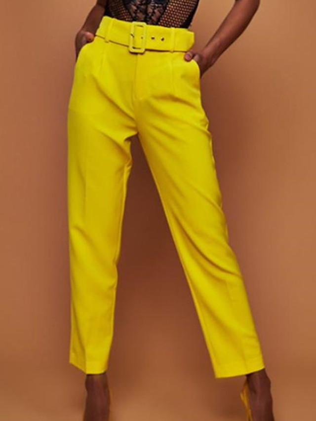 Women's Basic Loose Chinos Pants Solid Colored White Yellow Fuchsia