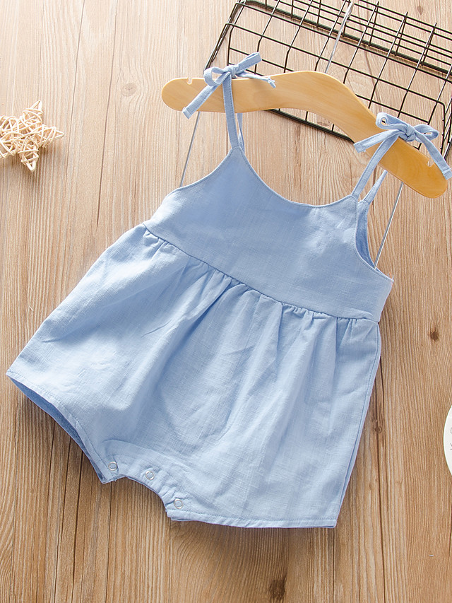 Baby Girls' Active Basic Solid Colored Backless Lace up Sleeveless Romper Blue