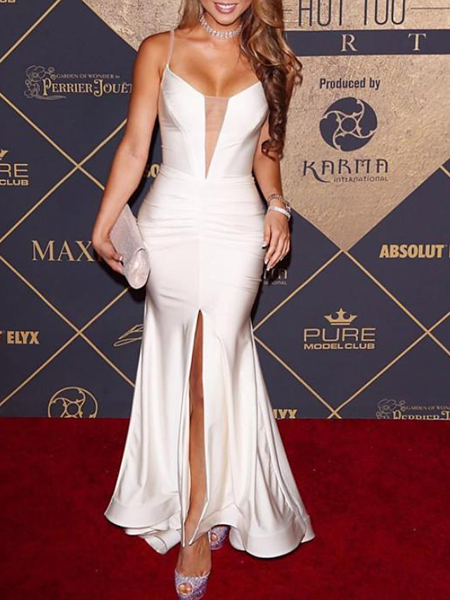 Mermaid / Trumpet Elegant Celebrity Style Party Wear Prom Dress V Neck Sleeveless Floor Length Satin with Split 2020