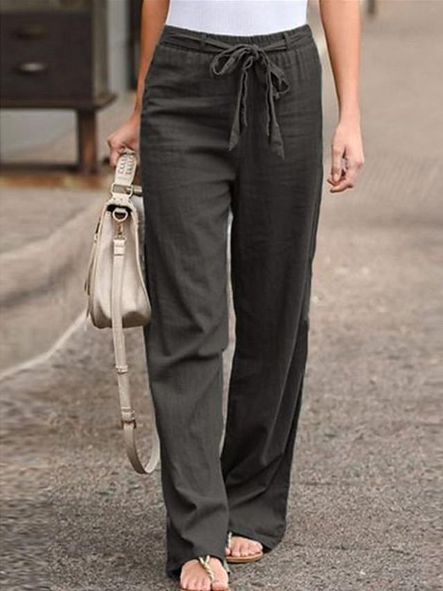 Women's Basic Plus Size Loose Cotton Chinos Pants - Solid Colored Black Blue Khaki S / M / L