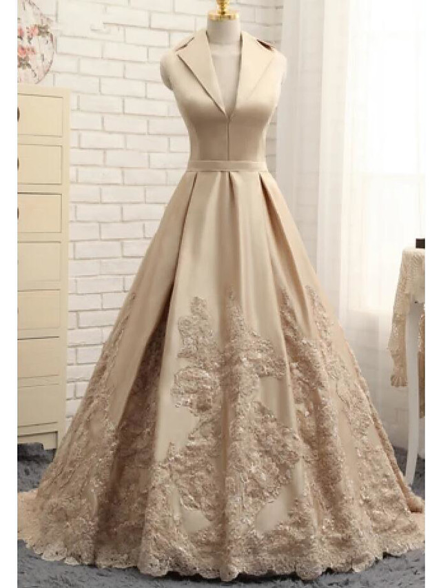 A-Line Elegant Luxurious Engagement Formal Evening Dress V Neck Sleeveless Sweep / Brush Train Satin with Sash / Ribbon Embroidery 2020