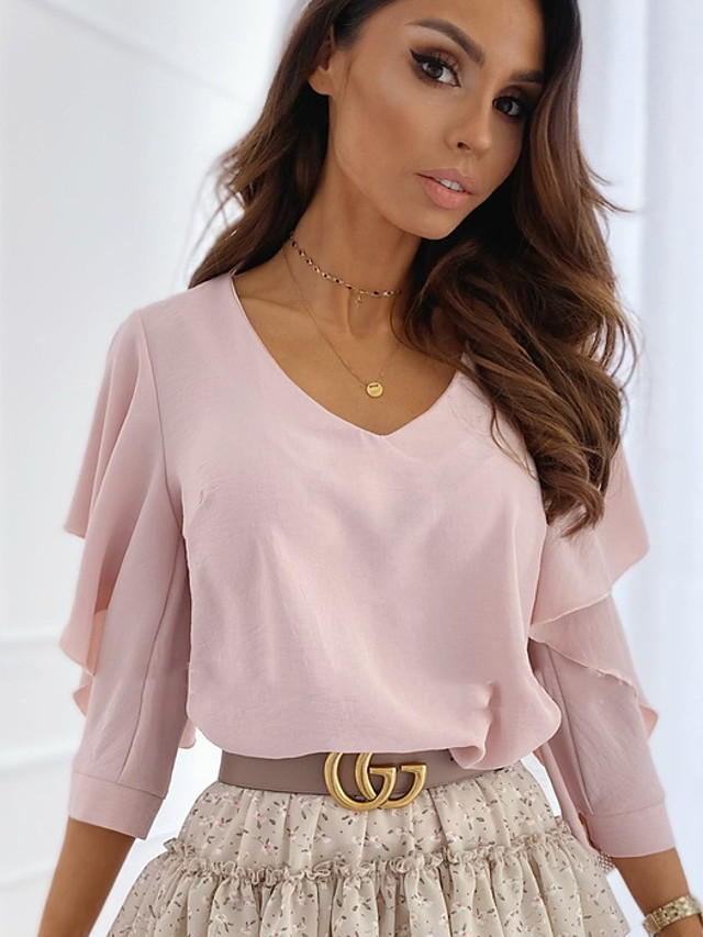 Women's Blouse Solid Colored Half Sleeve Tops V Neck White Blushing Pink Beige