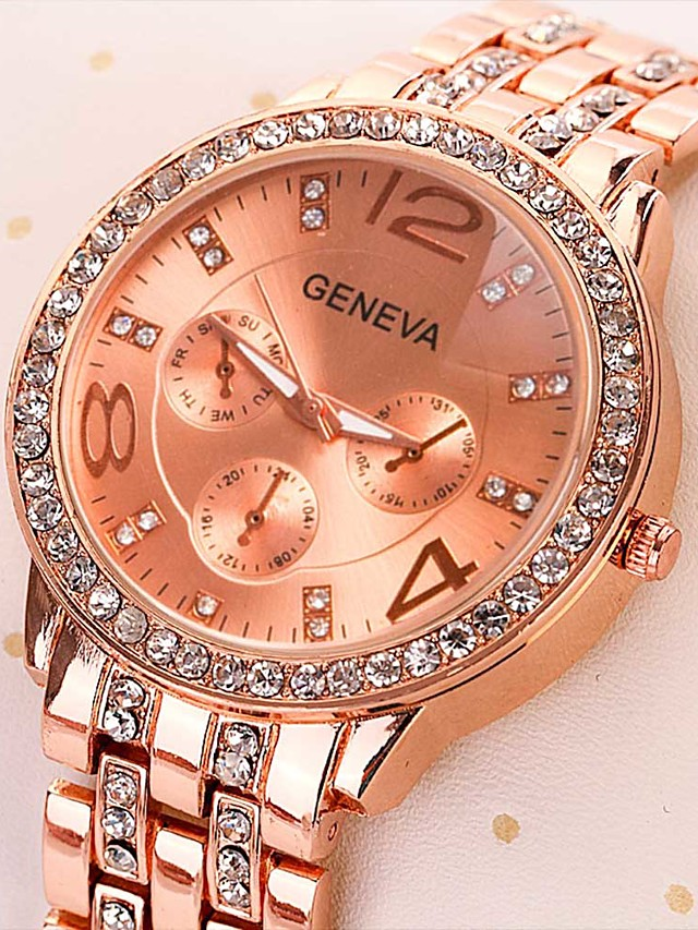 Women's Steel Band Watches Quartz Modern Style Stylish Casual Casual Watch Stainless Steel Silver / Gold / Rose Gold Analog - Rose Gold Gold Silver One Year Battery Life / Imitation Diamond