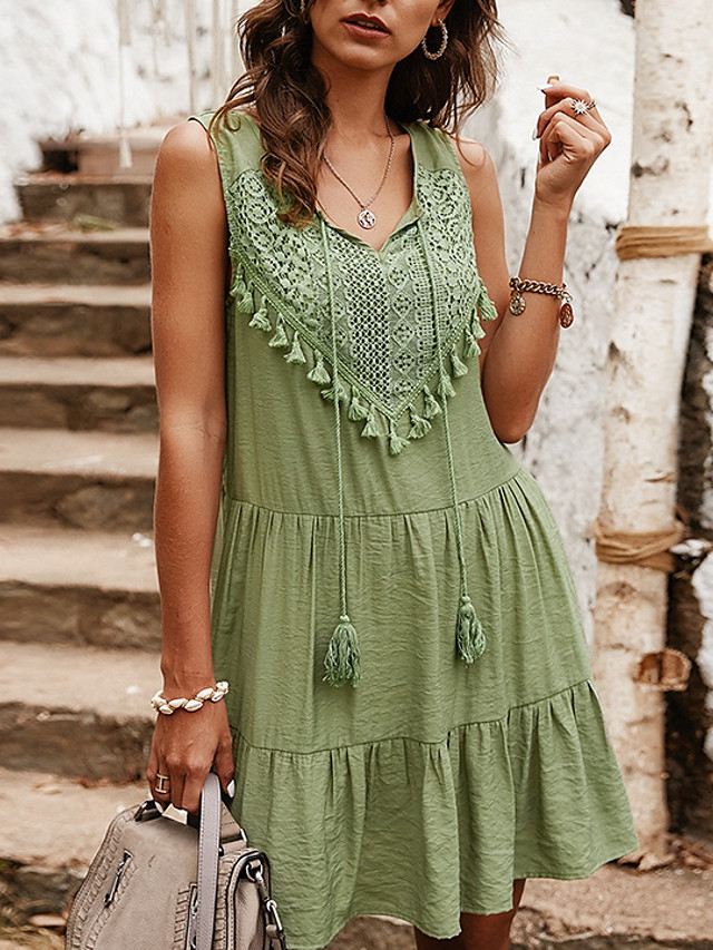 Women's A Line Dress - Sleeveless Solid Color Summer V Neck Casual 2020 Blue Yellow Light Green S M L XL