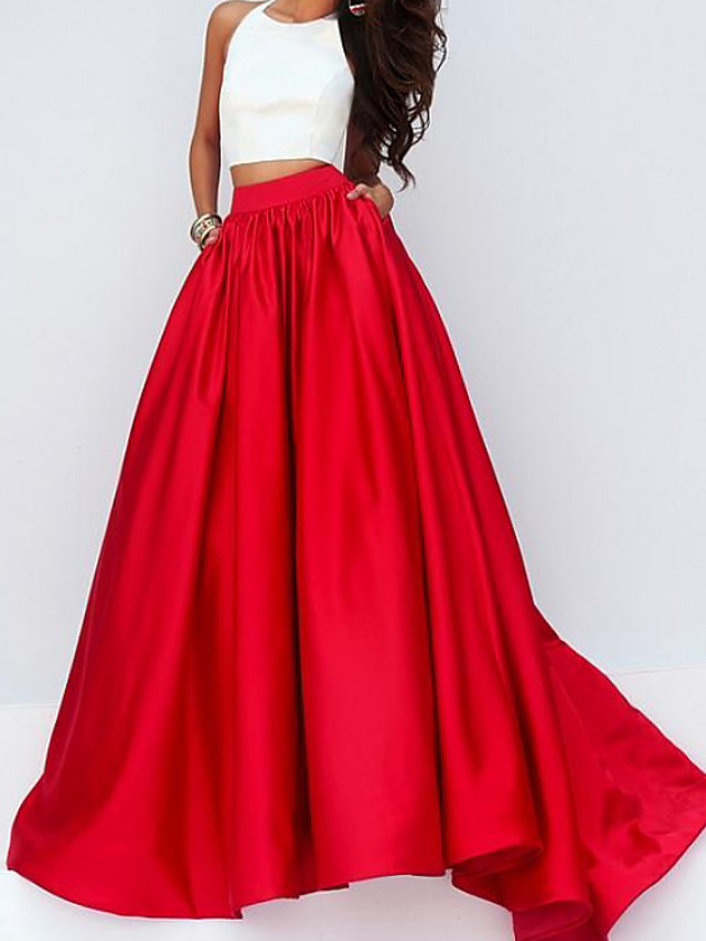Two Piece Color Block Minimalist Engagement Formal Evening Dress Halter Neck Sleeveless Floor Length Satin with Pleats 2020