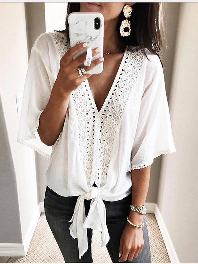 Women's Blouse Solid Colored Tops V Neck White / Going out