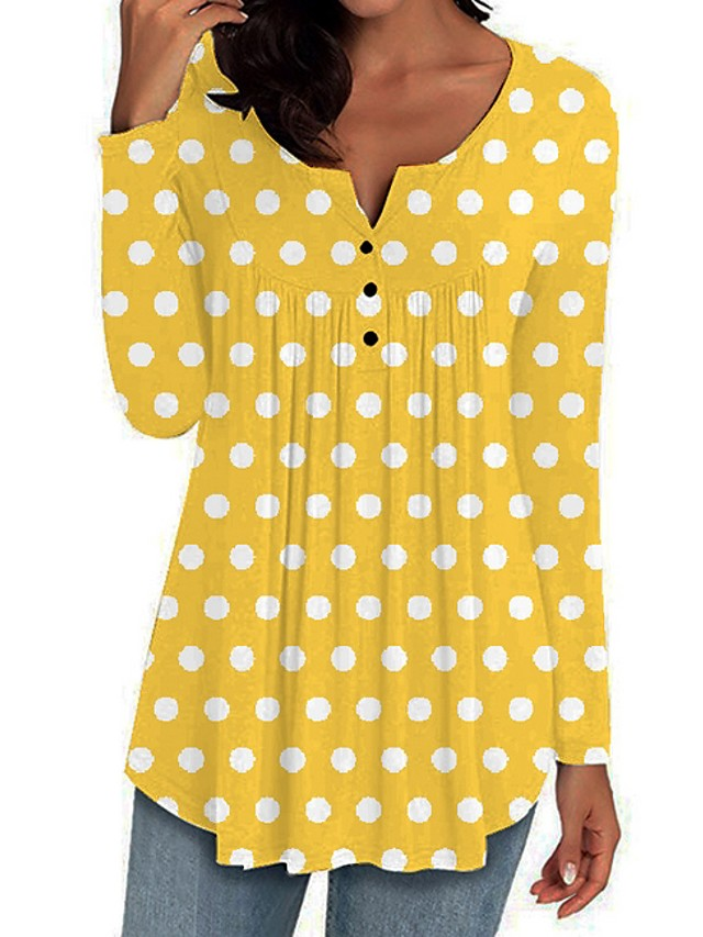 Women's Blouse Polka Dot Tops V Neck Red Yellow Green