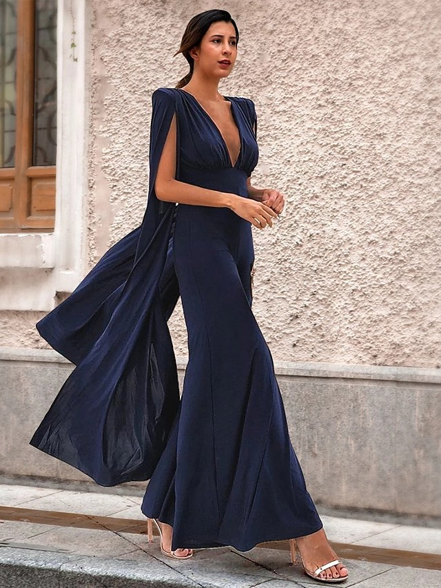 Jumpsuits Elegant Sexy Wedding Guest Formal Evening Dress V Neck Sleeveless Floor Length Spandex with Sleek 2020