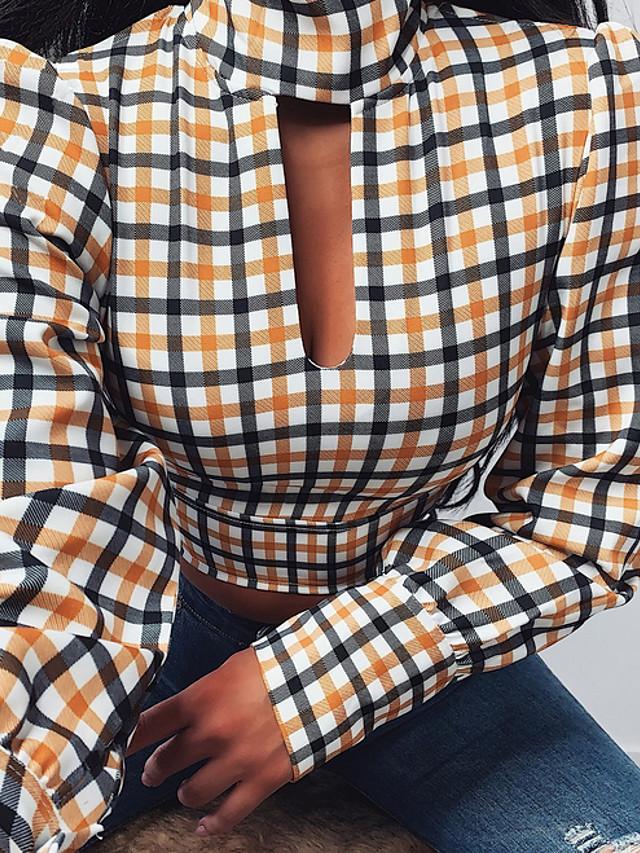 Women's Blouse Plaid Tops Yellow