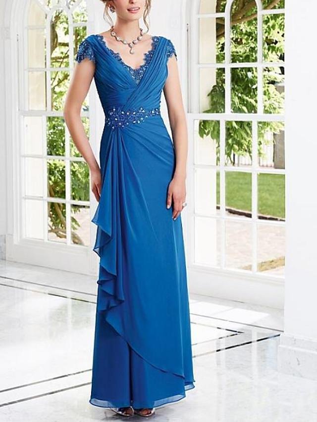 Sheath / Column Elegant Blue Engagement Formal Evening Dress V Neck Short Sleeve Floor Length Chiffon with Beading Draping 2020