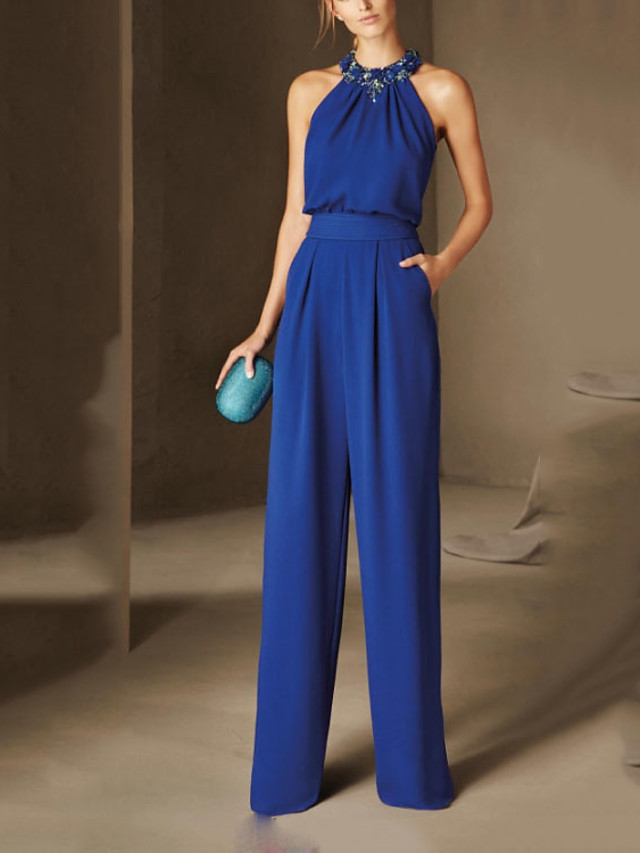 Jumpsuits Elegant Floral Party Wear Prom Dress Halter Neck Sleeveless Floor Length Chiffon with Sleek 2020