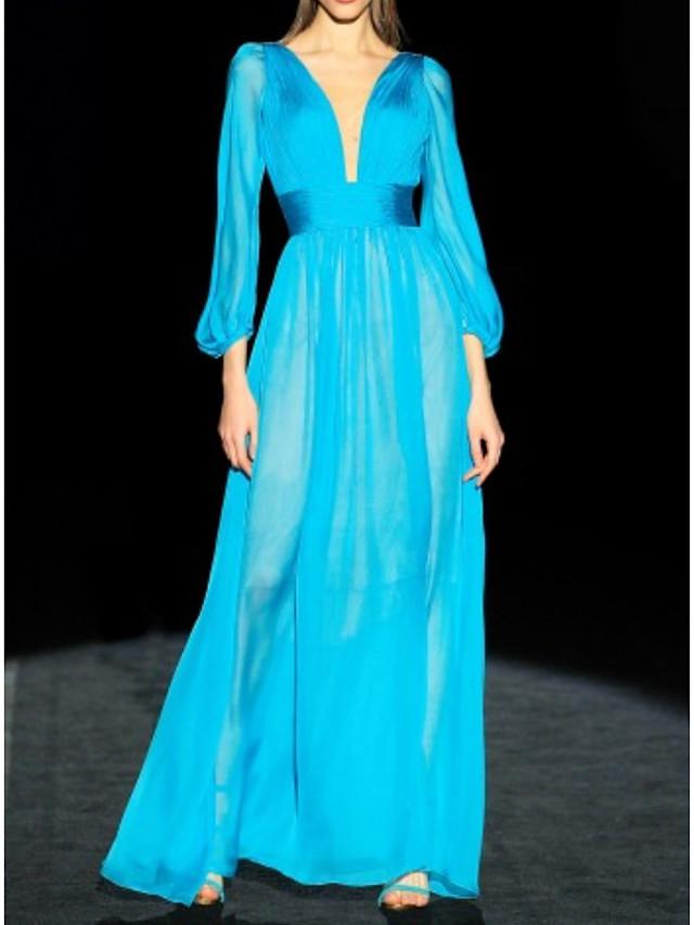 A-Line Minimalist Engagement Formal Evening Dress V Neck 3/4 Length Sleeve Floor Length Chiffon with Pleats 2020