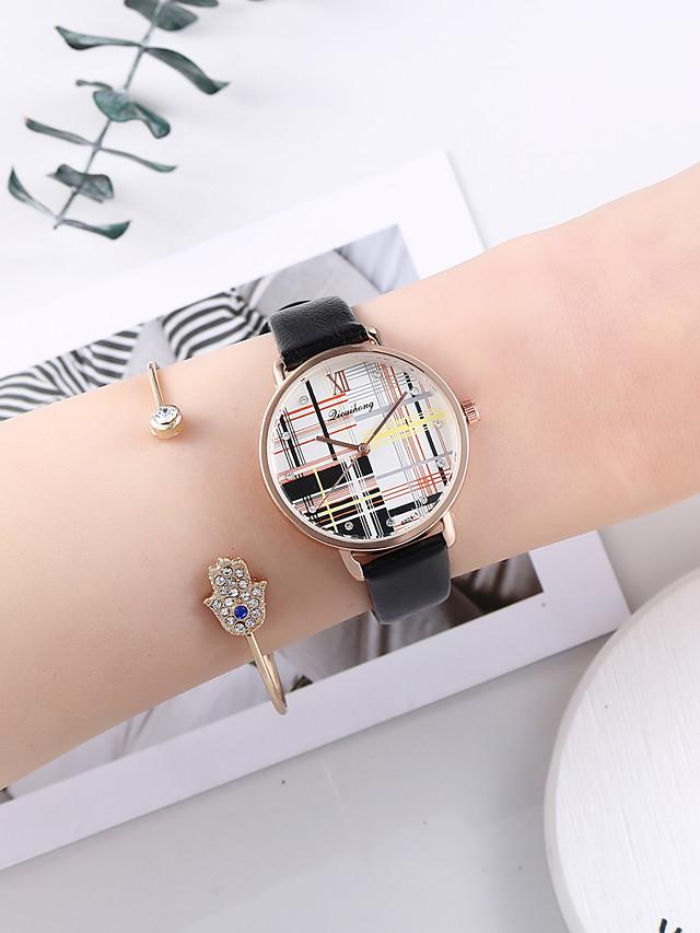 Women's Quartz Watches Quartz Fashion Chronograph PU Leather Black Analog - Black One Year Battery Life