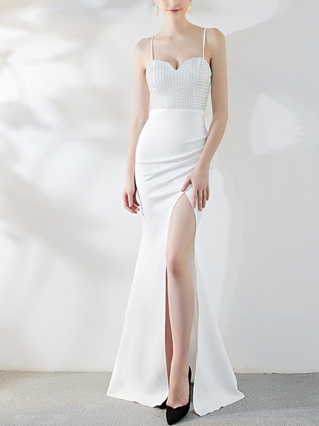 Mermaid / Trumpet Sexy Sparkle Engagement Prom Dress Spaghetti Strap Sleeveless Floor Length Stretch Satin with Crystals Split 2020