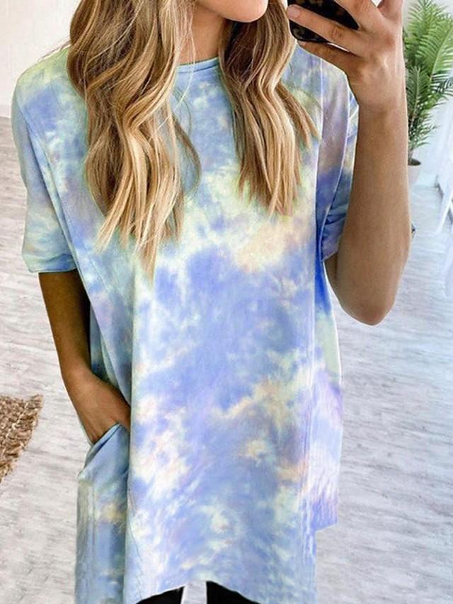 Women's T-shirt Color Block Tie Dye Print Tops Wine Blue Purple / Short Sleeve