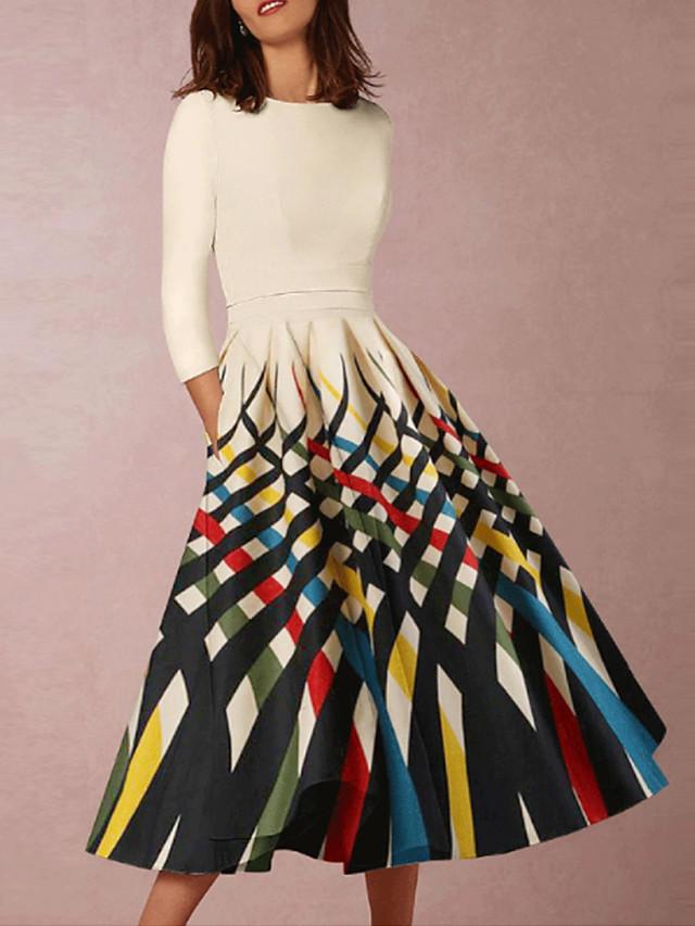 A-Line Elegant Minimalist Wedding Guest Cocktail Party Dress Jewel Neck Half Sleeve Knee Length Spandex Taffeta with Pattern / Print 2020
