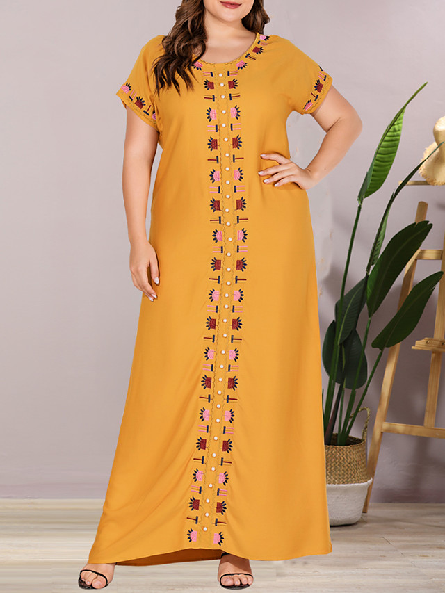 Women's Plus Size Maxi Pineapple Shift Dress - Short Sleeves Solid Color Embroidered Summer Casual Elegant Daily Going out Flare Cuff Sleeve Loose 2020 Yellow L XL XXL XXXL