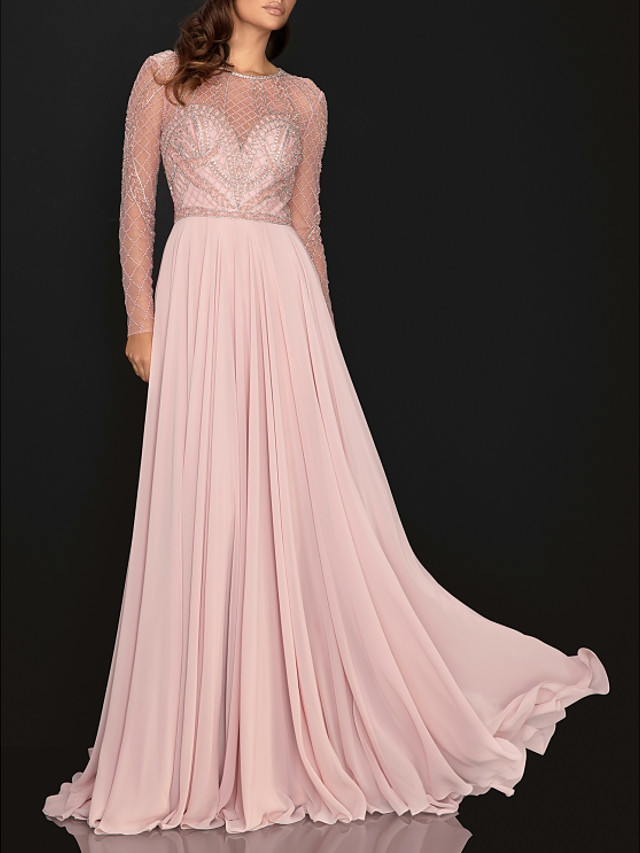 A-Line Elegant Pink Engagement Formal Evening Dress Illusion Neck Long Sleeve Sweep / Brush Train Chiffon with Pleats Sequin 2020 / Illusion Sleeve