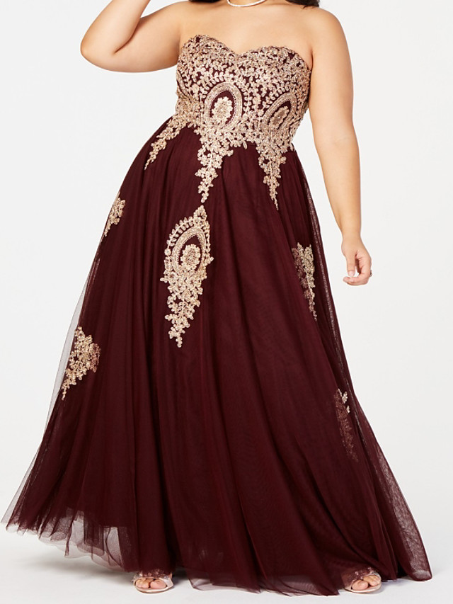 A-Line Elegant Plus Size Wedding Guest Formal Evening Dress Sweetheart Neckline Sleeveless Floor Length Tulle with Pleats Beading 2020