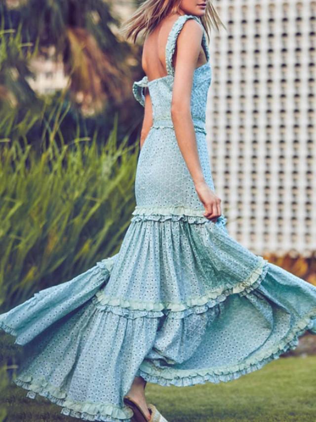Sheath / Column Bohemian Maxi Holiday Party Wear Dress Spaghetti Strap Sleeveless Floor Length Cotton with Ruffles 2020