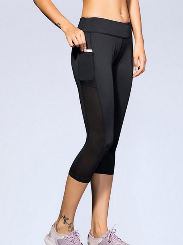 Women's Basic Legging - Color Block Mid Waist Black Blue Fuchsia XS S M