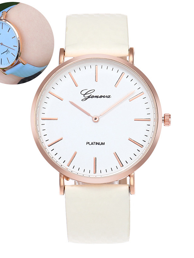 Women's Quartz Watches Quartz Stylish Fashion Casual Watch PU Leather White Analog - Blue Purple Rose Red One Year Battery Life