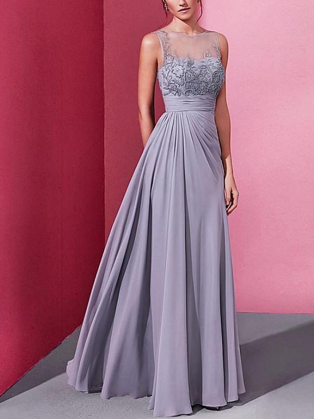 Sheath / Column Elegant Floral Engagement Formal Evening Dress Illusion Neck Sleeveless Floor Length Chiffon with Pleats Embroidery 2020