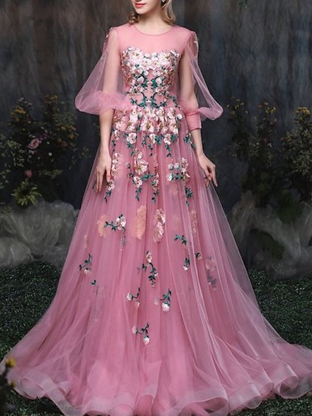 A-Line Luxurious Engagement Formal Evening Dress Illusion Neck 3/4 Length Sleeve Chapel Train Tulle with Appliques 2020