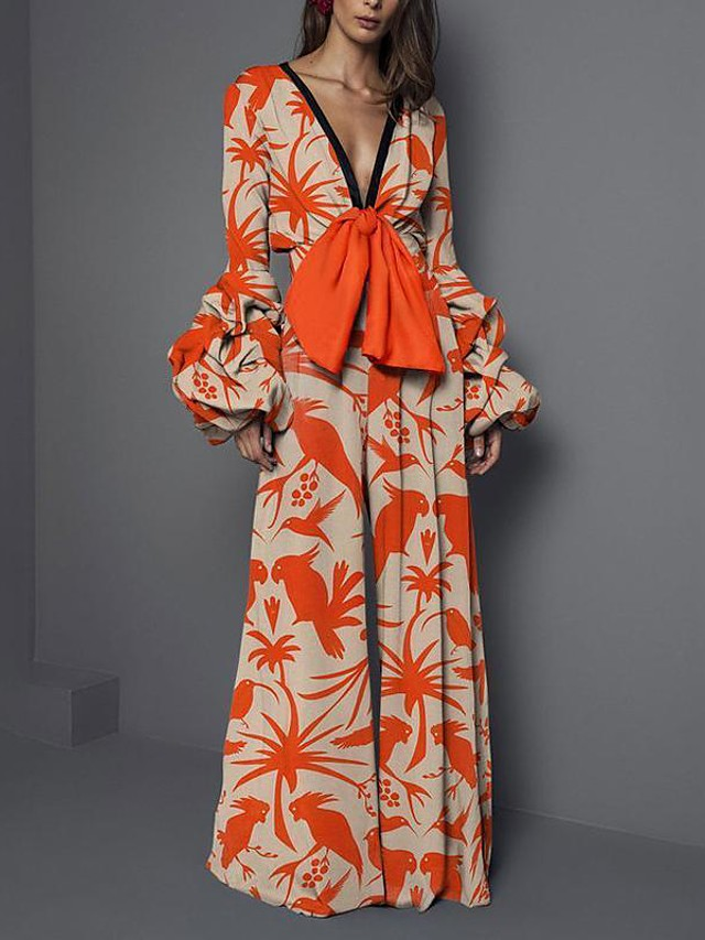 Jumpsuits Floral Boho Holiday Prom Dress V Neck Long Sleeve Floor Length Spandex with Pattern / Print 2020
