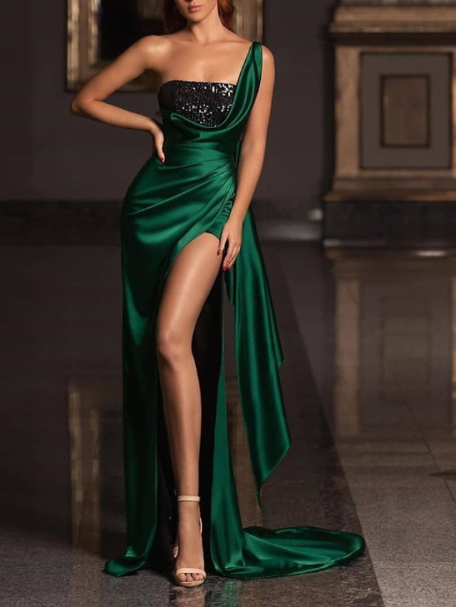 Sheath / Column Elegant Sparkle Prom Formal Evening Dress One Shoulder Sleeveless Court Train Satin Sequined with Ruched 2020