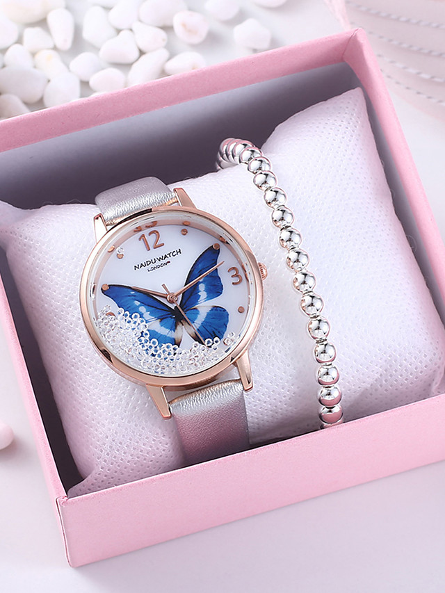 Women's Quartz Watches Quartz Butterly Style Butterfly Chronograph PU Leather Silver / Grey / Pink Analog - Blushing Pink Silver Gray One Year Battery Life