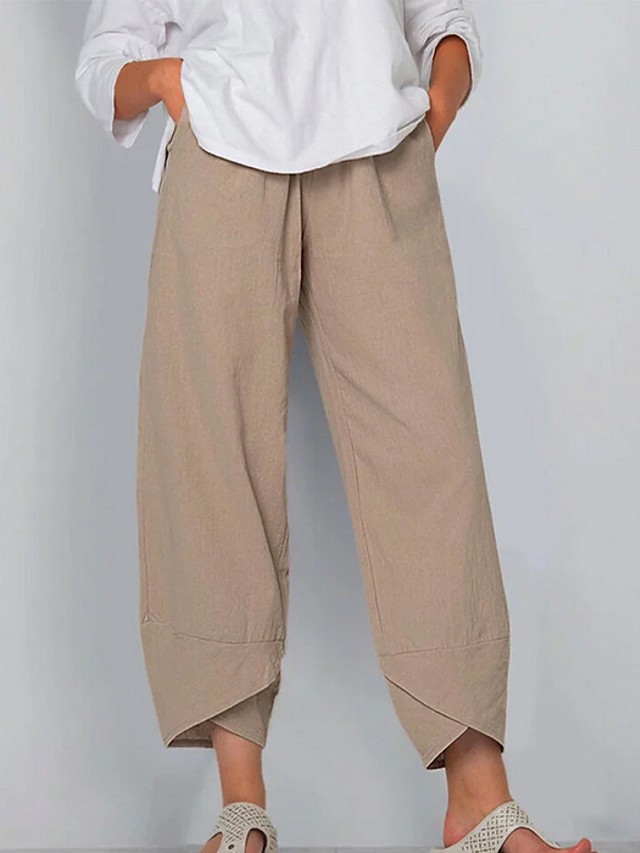 Women's Basic Plus Size Loose Cotton Chinos Pants - Solid Colored Black Khaki Green S / M / L