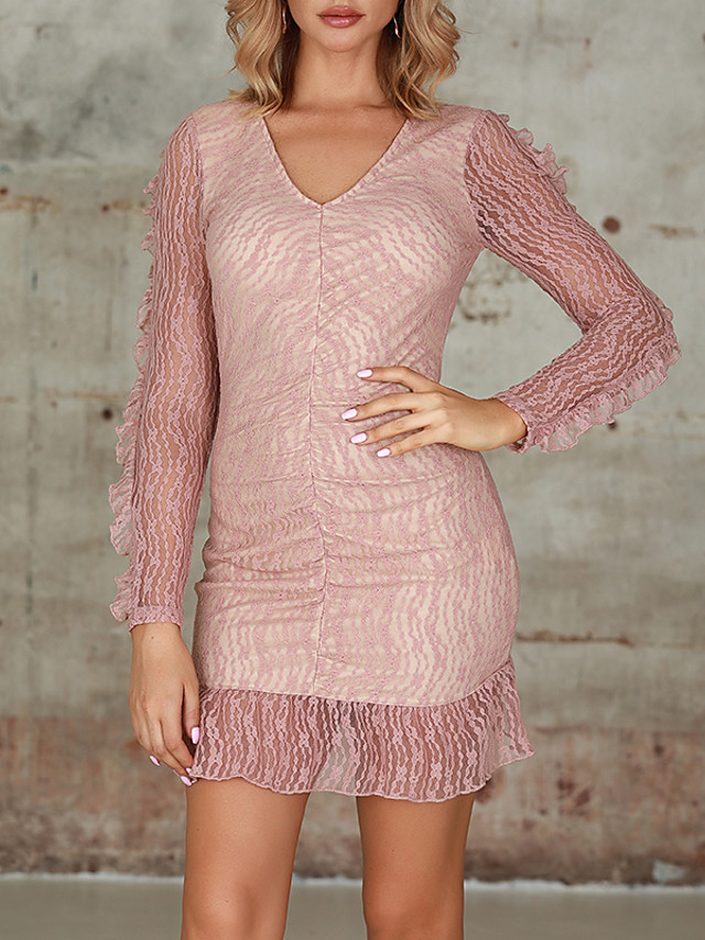Women's Bodycon - Long Sleeve Print Zipper Spring Fall Glitters Vintage Daily Going out Puff Sleeve 2020 Blushing Pink S M L