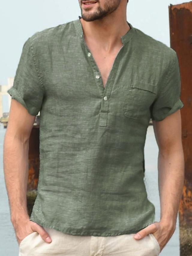 Men's T shirt Solid Colored Short Sleeve Daily Tops Linen Basic Streetwear V Neck White Black Green / Work