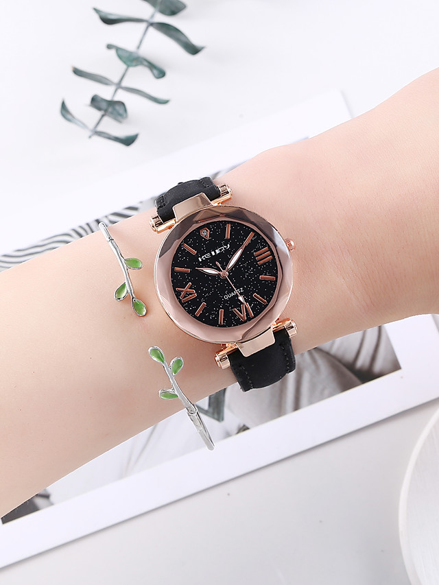 Women's Quartz Watches Quartz New Arrival Chronograph PU Leather Black Analog - Black One Year Battery Life