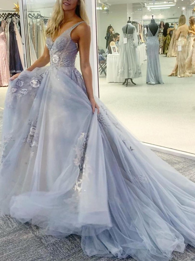 A-Line Floral Sexy Engagement Formal Evening Dress V Neck Sleeveless Watteau Train Tulle with Embroidery 2020