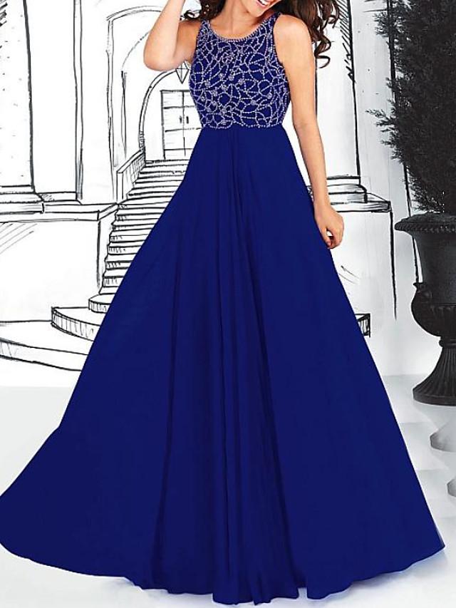 A-Line Elegant Blue Engagement Formal Evening Dress Jewel Neck Sleeveless Sweep / Brush Train Chiffon with Pleats Beading 2020