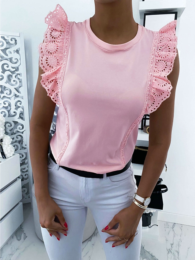 Women's Blouse Solid Colored Sleeveless Tops Basic Black Blushing Pink Beige