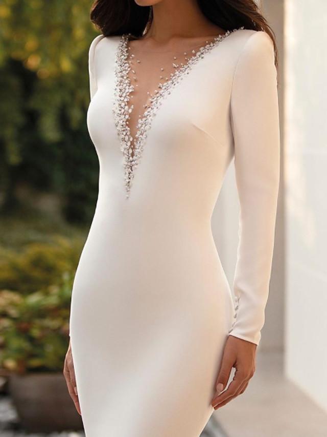 Mermaid / Trumpet Wedding Dresses Jewel Neck Court Train Satin Long Sleeve Sexy See-Through with Beading 2021