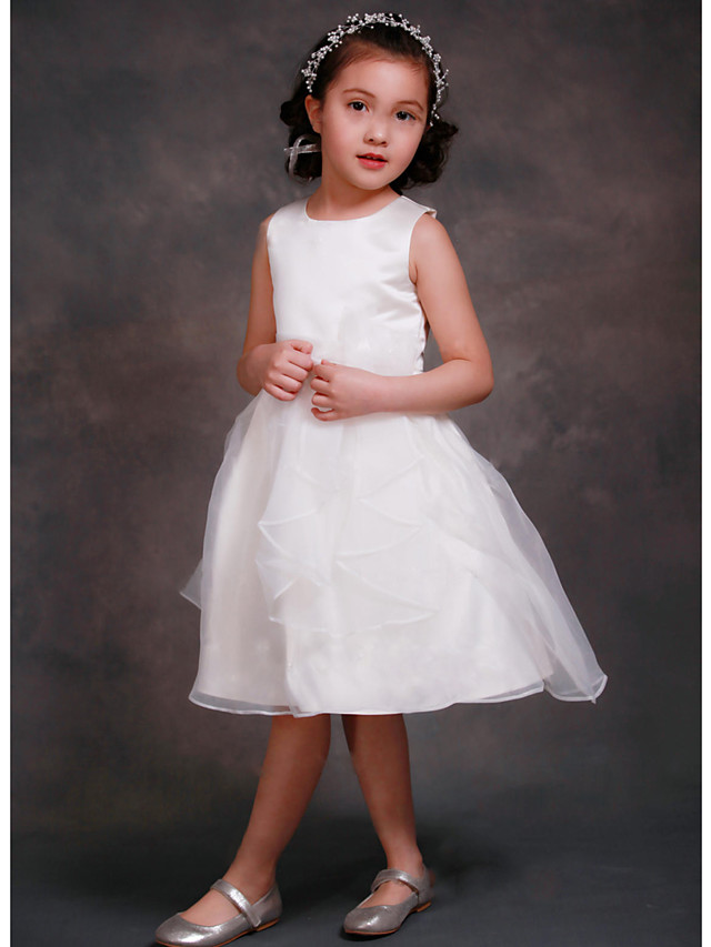 A-Line Tea Length Wedding / Party Flower Girl Dresses - Organza / Satin Sleeveless Jewel Neck with Tier
