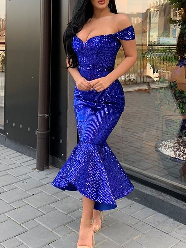 Mermaid / Trumpet Sparkle Blue Party Wear Formal Evening Dress Off Shoulder Short Sleeve Ankle Length Sequined with Sequin 2020